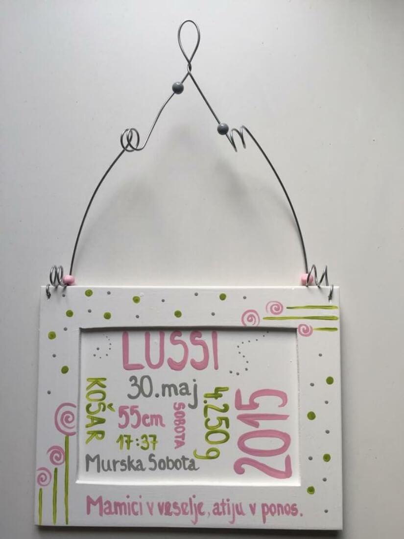 lesene tablice ob rojstvu otroka- fletna stacunca